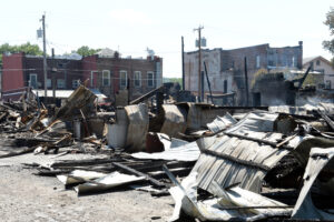 MARC SCHULTZ/GAZETTE PHOTOGRAPHER Aftermath of the Mancini Oil fire in Fonda.