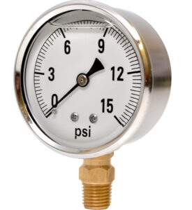 A gauge would register one pound per inch if you placed it at the bottom of a column of water 28 inches high.